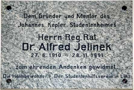 plaque Alfred Jelinek